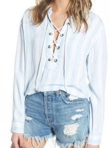 Rails block stripe rope lace neck pullover shirt